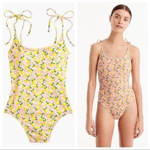 Lemon Print Shoulder-Tie One Piece Swimsuit